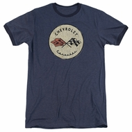 Chevy Corvette Old Vette Logo Navy Blue Ringer Shirt