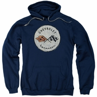 Chevy Hoodie Corvette Old Vette Logo Navy Blue Sweatshirt Hoody