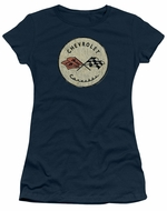Chevy Juniors Shirt Corvette Old Vette Logo Navy Blue T-Shirt