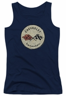 Chevy Juniors Tank Top Corvette Old Vette Logo Navy Blue Tanktop