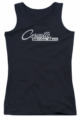 Chevy Juniors Tank Top Corvette Sting Ray Chrome Logo Black Tanktop