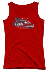 Chevy Juniors Tank Top See The USA Chevrolet Red Tanktop