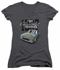 Chevy Juniors V Neck Shirt Chevrolet 1967 Classic Camaro Charcoal T-Shirt
