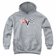 Chevy Kids Hoodie 2ND Gen Vette Nose Emblem Athletic Heather Youth Hoody