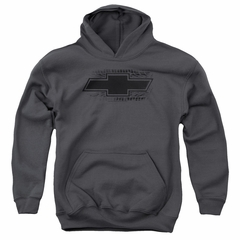 Chevy Kids Hoodie Chevrolet Bowtie Tire Tread Charcoal Youth Hoody
