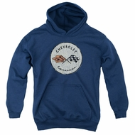 Chevy Kids Hoodie Corvette Old Vette Logo Navy Blue Youth Hoody
