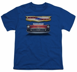 Chevy Kids Shirt 1957 Bel Air Grille Royal Blue T-Shirt
