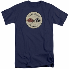 Chevy Shirt Corvette Old Vette Logo Tall Navy Blue T-Shirt