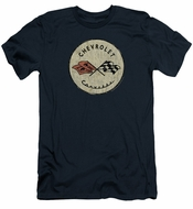 Chevy Slim Fit Shirt Corvette Old Vette Logo Navy Blue T-Shirt