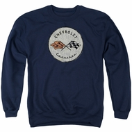 Chevy Sweatshirt Corvette Old Vette Logo Adult Navy Blue Sweat Shirt
