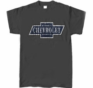 Chevy T-Shirt - Chevrolet DISTRESSED LOGO Adult Gray Tee