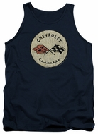 Chevy Tank Top Corvette Old Vette Logo Navy Blue Tanktop
