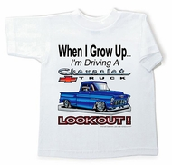 Chevy Truck Kids T-Shirt Chevrolet Lookout Youth White Tee Shirt