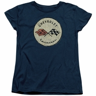 Chevy Womens Shirt Corvette Old Vette Logo Navy Blue T-Shirt