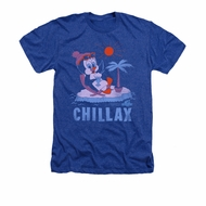 Chilly Willy Shirt Chillax Adult Heather Royal Blue Tee T-Shirt