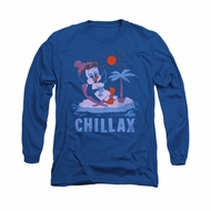 Chilly Willy Shirt Chillax Long Sleeve Royal Blue Tee T-Shirt