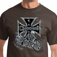 Chopper Cross Skeleton Mens Biker Shirts