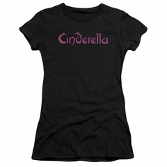Cinderella Shirt Juniors Scratched Logo Black T-Shirt