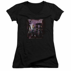 Cinderella Shirt Juniors V Neck Night Songs Black T-Shirt