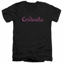 Cinderella Shirt Slim Fit V-Neck Scratched Logo Black T-Shirt