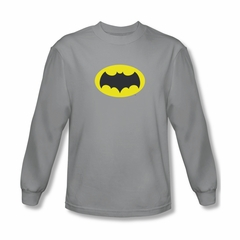Classic Batman Shirt Logo Long Sleeve Silver Tee T-Shirt
