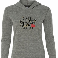 Coffee Lipstick Repeat Ladies Grey Tri Blend Hoodie Shirt