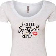 Coffee Lipstick Repeat Ladies Heather White Scoop Neck Shirt