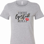 Coffee Lipstick Repeat Ladies Longer Length Shirt