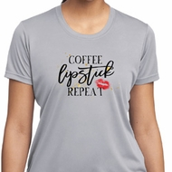 Coffee Lipstick Repeat Ladies Moisture Wicking Shirt