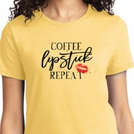 Coffee Lipstick Repeat Ladies Shirt