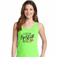 Coffee Lipstick Repeat Ladies Tank Top