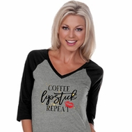 Coffee Lipstick Repeat Ladies Three Quarter Sleeve V-Neck Raglan Shirt