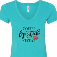 Coffee Lipstick Repeat Ladies V-Neck Shirt