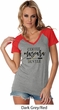 Coffee Mascara Hustle Ladies Contrast V-Neck Shirt