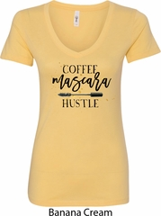Coffee Mascara Hustle Ladies V-Neck Shirt