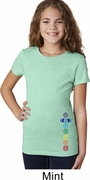 Colored Chakras Bottom Print Girls Yoga Shirts