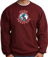 COME TOGETHER World Peace Sign Symbol Adult Sweatshirt - Maroon