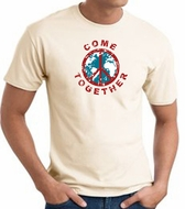 COME TOGETHER World Peace Sign Symbol Adult T-shirt - Natural