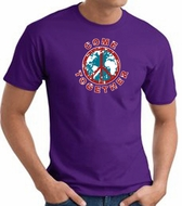COME TOGETHER World Peace Sign Symbol Adult T-shirt - Purple