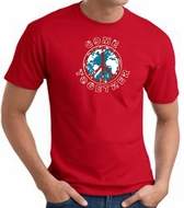 COME TOGETHER World Peace Sign Symbol Adult T-shirt - Red