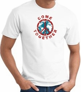 COME TOGETHER World Peace Sign Symbol Adult T-shirt - White