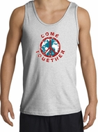 COME TOGETHER World Peace Sign Symbol Adult Tanktop - Ash