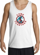 COME TOGETHER World Peace Sign Symbol Adult Tanktop - White