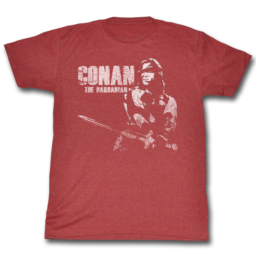 Conan Shirts The Barbarian Adult Heather Red Tee T Shirt