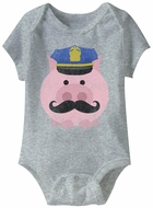 Cop Pig  Funny Baby Romper Grey Infant Babies Creeper