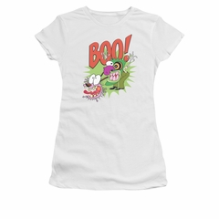 Courage The Cowardly Dog Shirt Juniors Stupid Dog White Tee T-Shirt