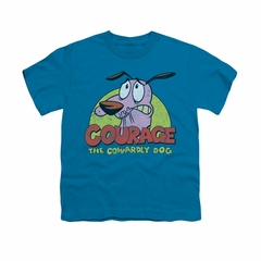 Courage The Cowardly Dog Shirt Kids Colorful Courage Turquoise Youth Tee T-Shirt