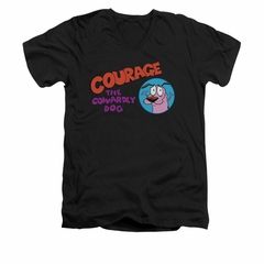 Courage The Cowardly Dog Shirt Slim Fit V Neck Courage Logo Black Tee T-Shirt