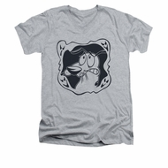 Courage The Cowardly Dog Shirt Slim Fit V Neck Ghost Frame Athletic Heather Tee T-Shirt