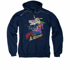 Cow & Chicken Hoodie Sweatshirt Super Cow Navy Adult Hoody Sweat Shirt